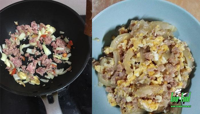 แหนมผัดไข่ใส่กระดูกหมูตุ๋น เมนูอร่อยเด็ด